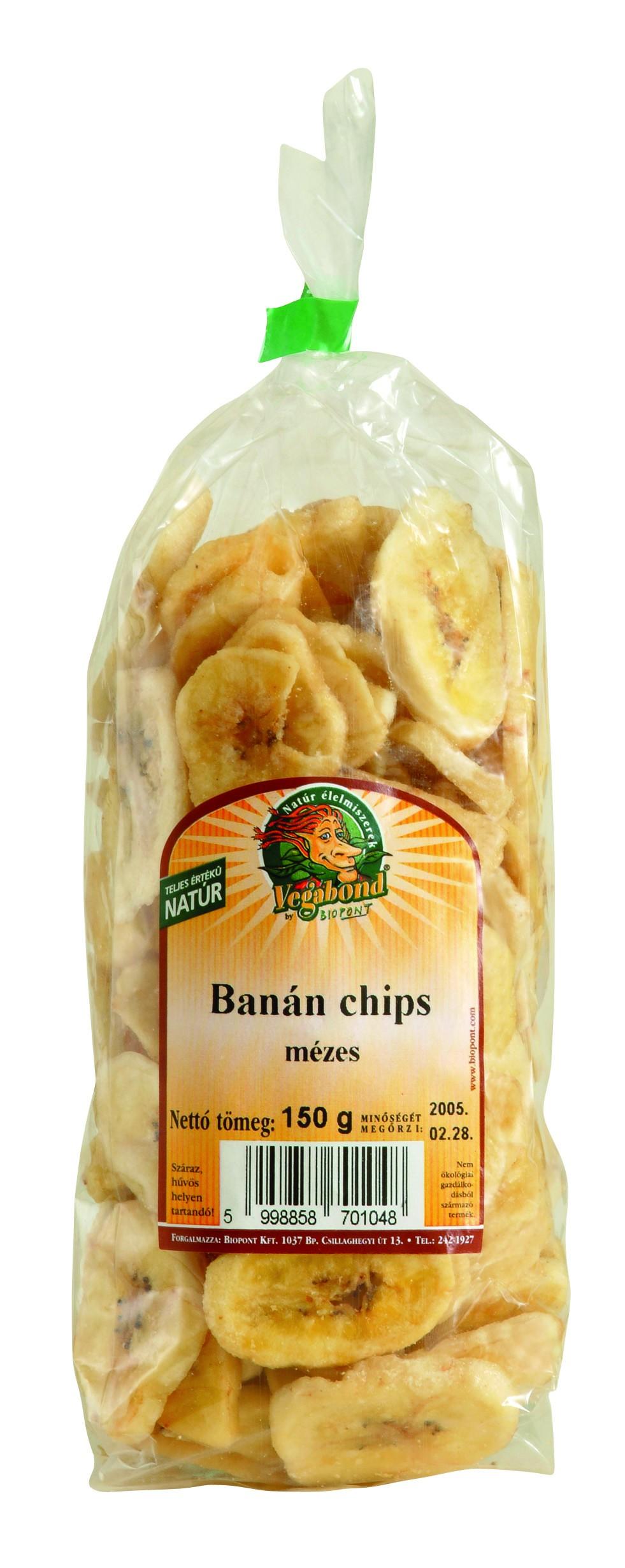 Banán chips, mézes